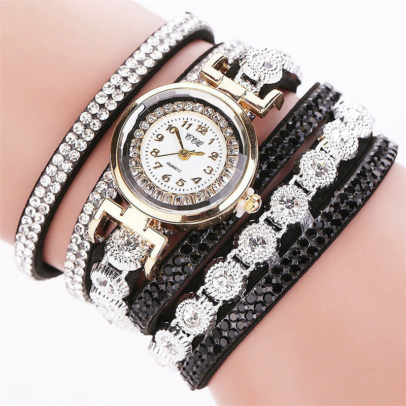CCQ Fashion Luxury Rhinestone PU Leather Band Women Quartz Brace