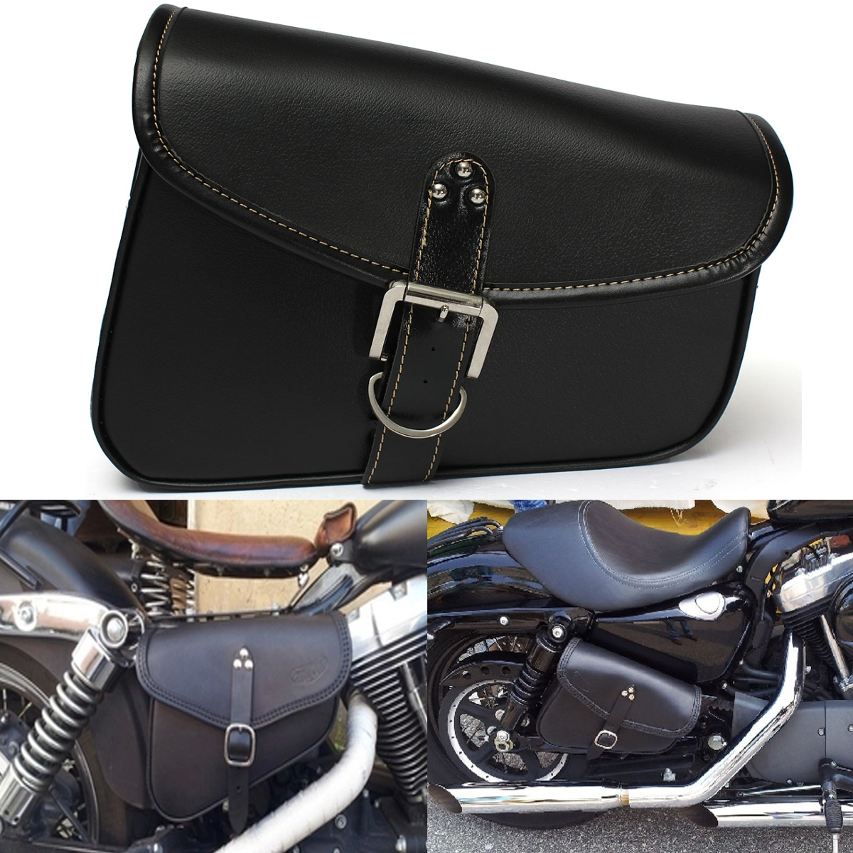 1 Pcs Motorcycle Saddlebag Leather Luggage Storage Bag Bike Cycl