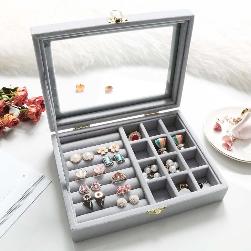 5 Colors Dual-Lock Ring Earring Jewelry Box Flannel Material Sto
