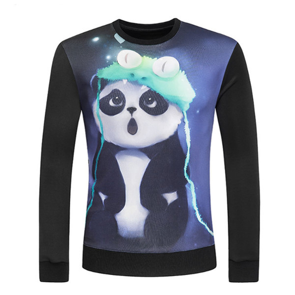Digital 3D Printing Panda Round Collar Pullover Fashion Casual L
