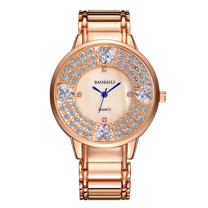 BAOSAILI BSL1036 Shining Ladies Wrist Watch Heart Imitation Diam