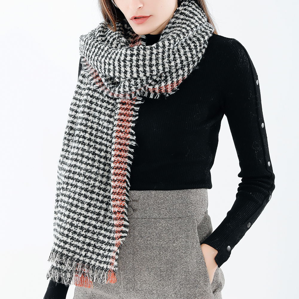190*70CM Women Winter Warm Acrylic Plaid Scarf Outdoor Large Siz