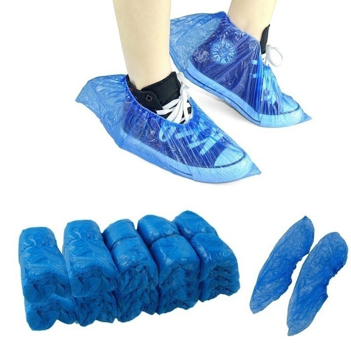 100 Pcs Disposable Shoe Covers Waterproof Slip Resistant Durable