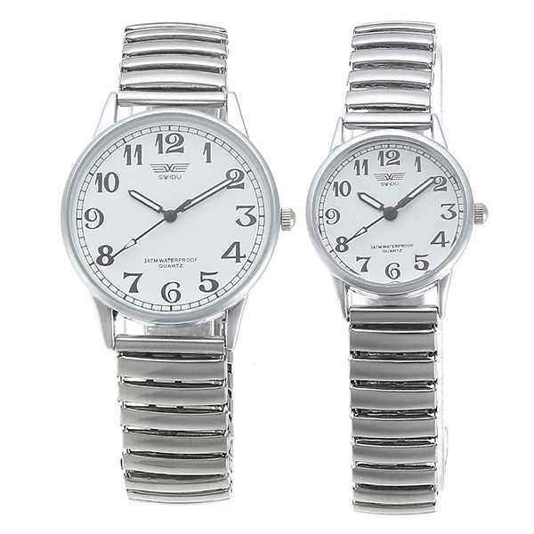 Simple Style Couples Watch Alloy Elastic Band Live Waterproof Me