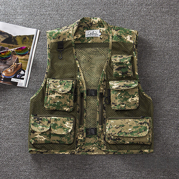 Mens Summer Outdooors Mesh Camouflage Solid Color Multi Pocket F