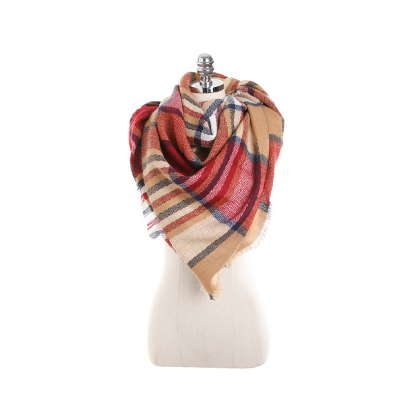 140CM Women Autumn Plaid Blanket Scarf Wraps Casual Warm Soft Sc