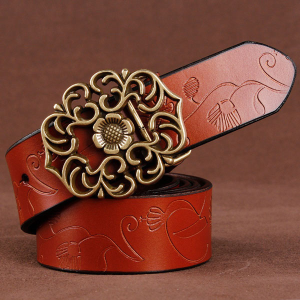 110CM Women 100% Second Layer Belt Cow Genuine Leather Flower St