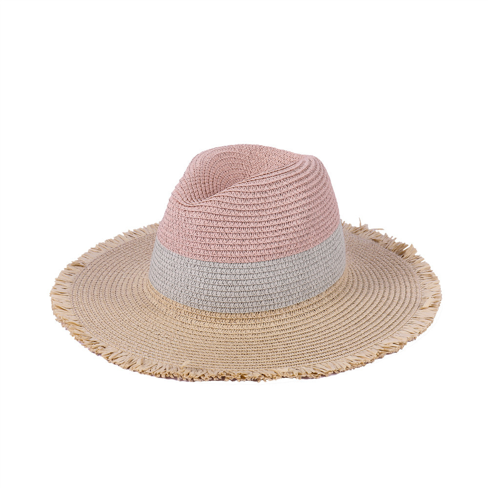 Woman Tri-color splicing Edging Top Hat Straw Hat Flat Jazz Hat