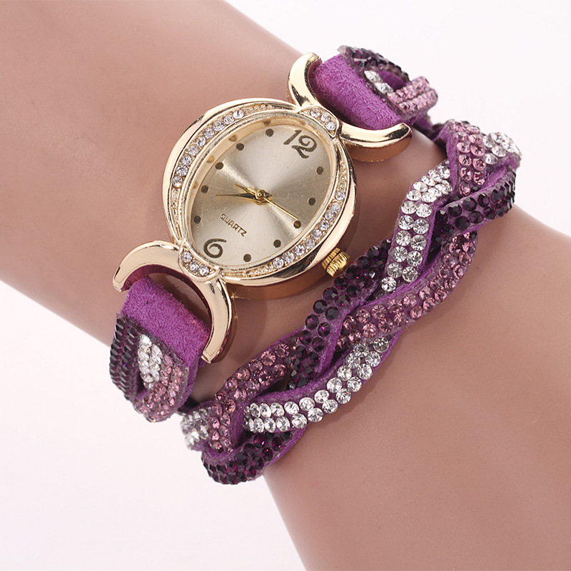 DUOYA D014 Rhinestones Elegant Ladies Watch Leather Strap Bracel