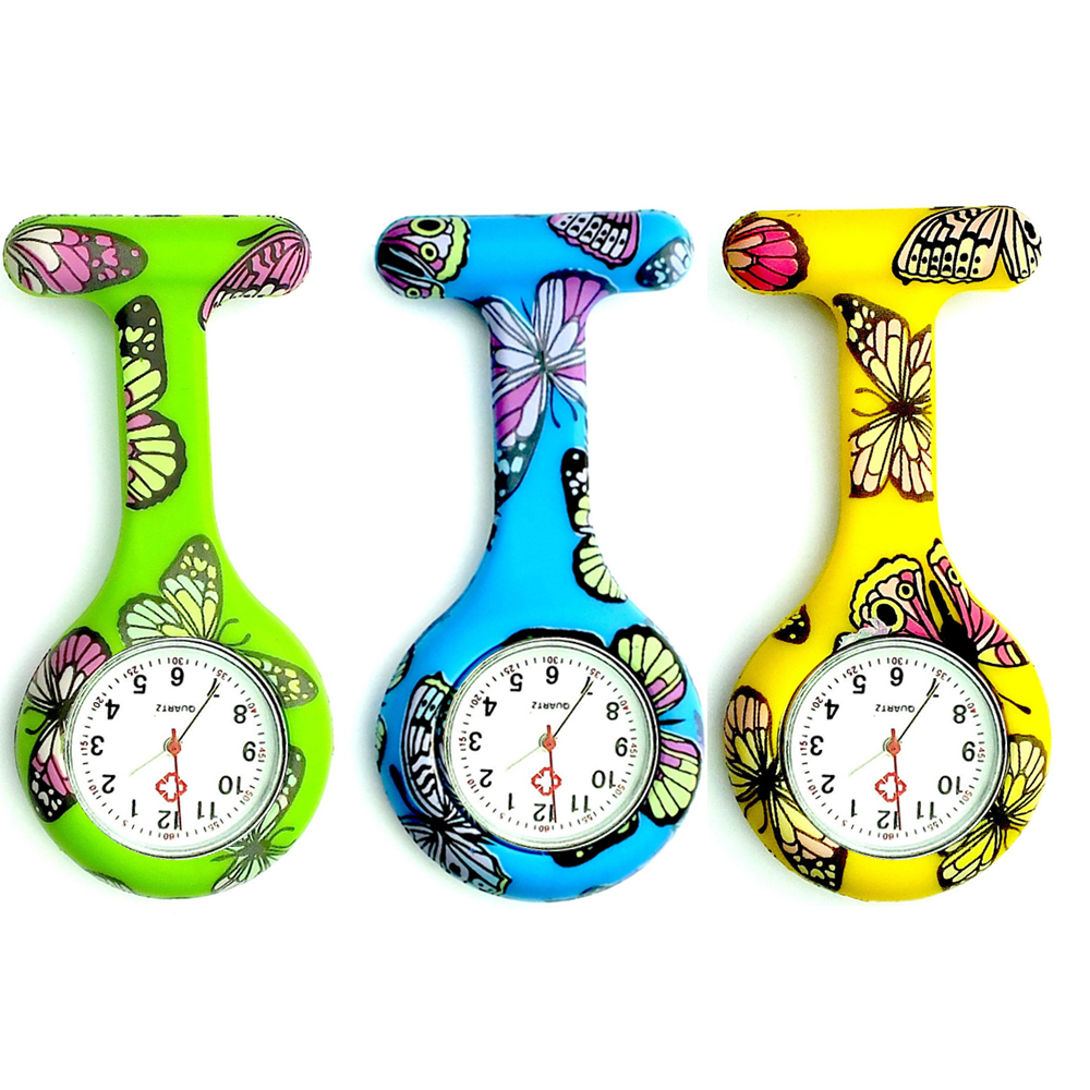 Butterfly Pattern Nurse Watch  Colorful Silicone Pocket Watch Do