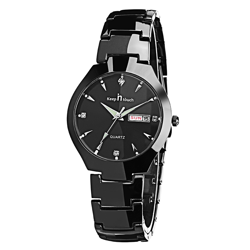 Casual Style Couple Wrist Watch Gift Stainless Steel Strap Quart