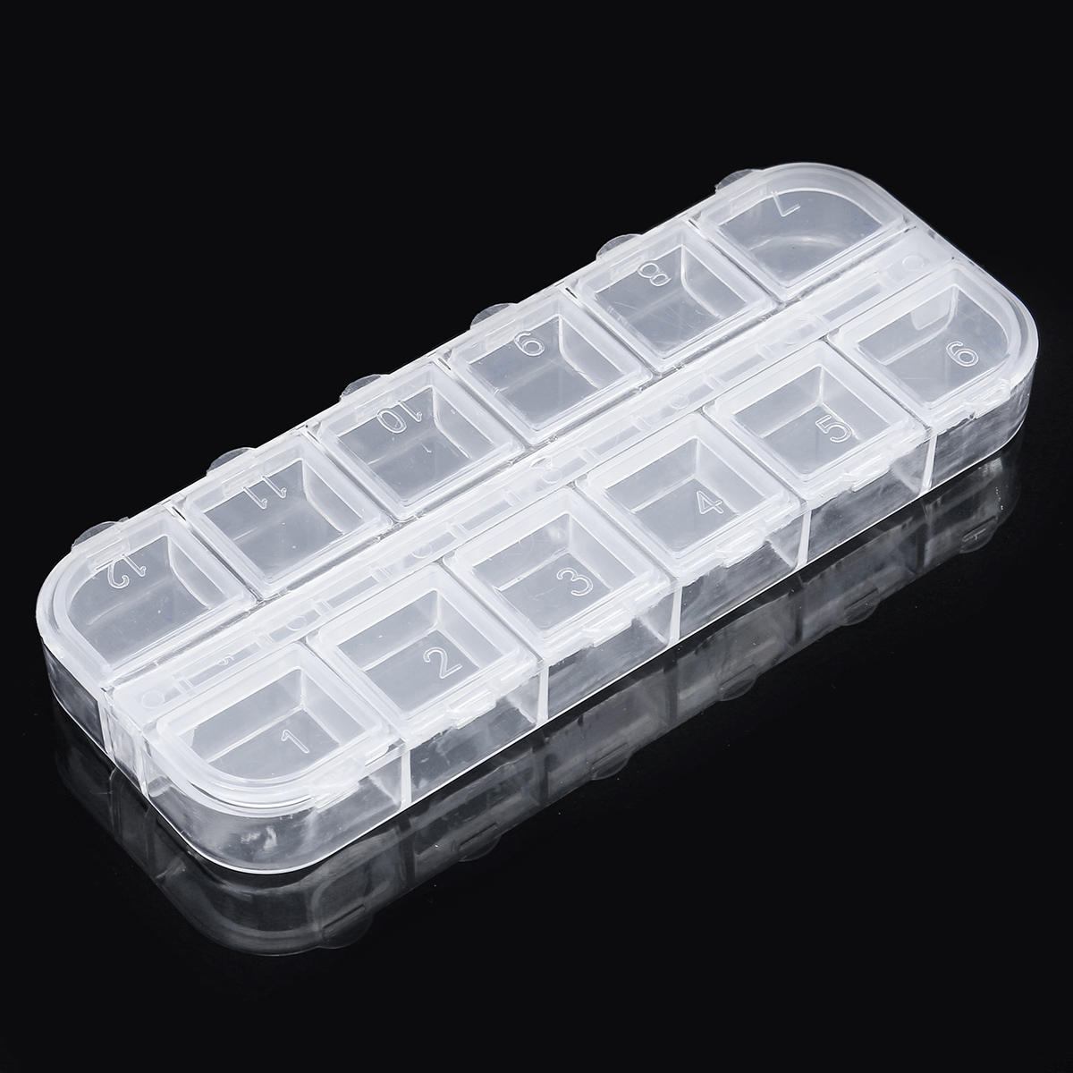 12 Grid Jewelry Pill Case Organizer Double Row Independent Open