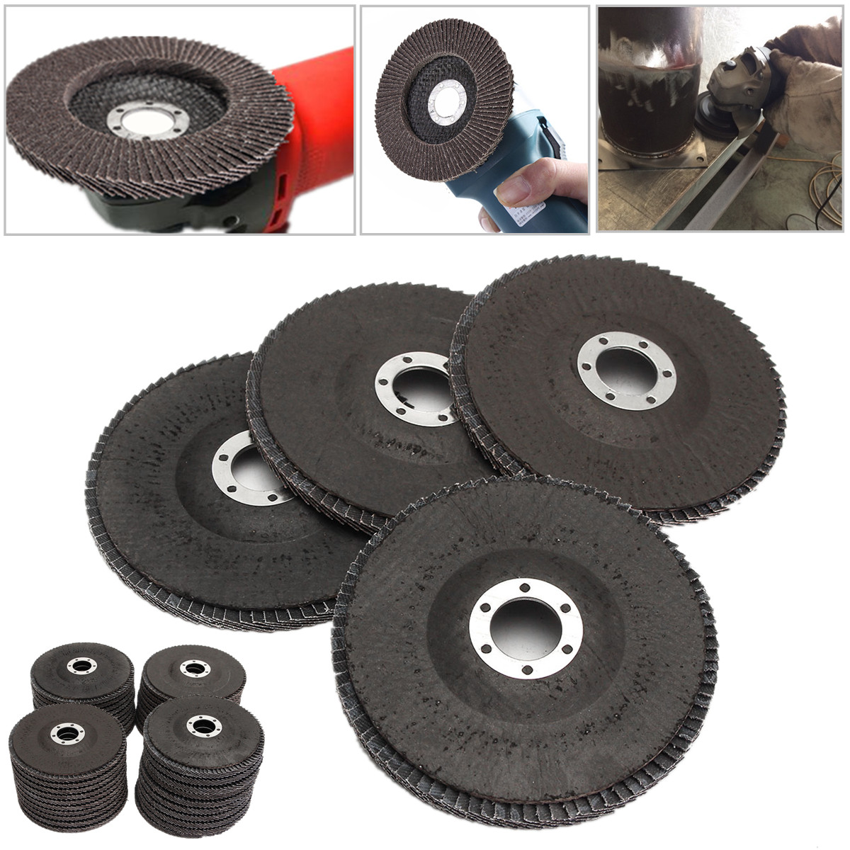 10Pcs 5 125mm 40 60 80 120 Grit Angle Grinder Flap Sanding Disc
