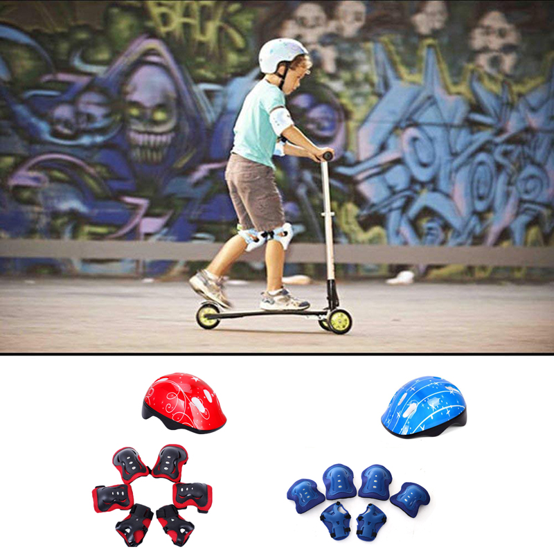 7Pcs Children Cycling Skating Skateboard Bike Helmet Elbow Knee