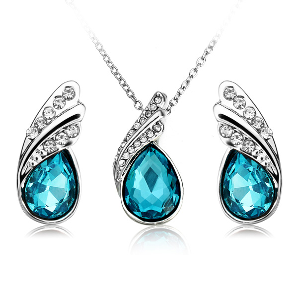 Crystal Water Drop Necklace Earrings Jewelry Set Silver Plated J