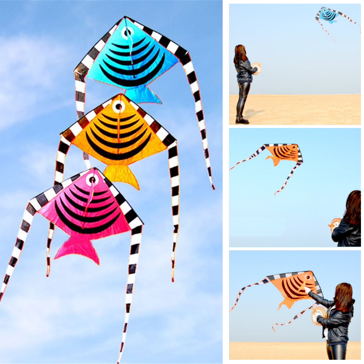 1.2M Swallow Fish Shape Flying Kites With Tail Children Summer O
