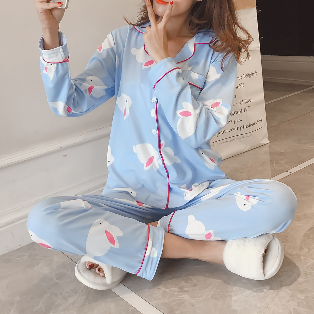 2Pcs Cartoon Printed Long Sleeve Lapel Button Silk Pajama Sets S