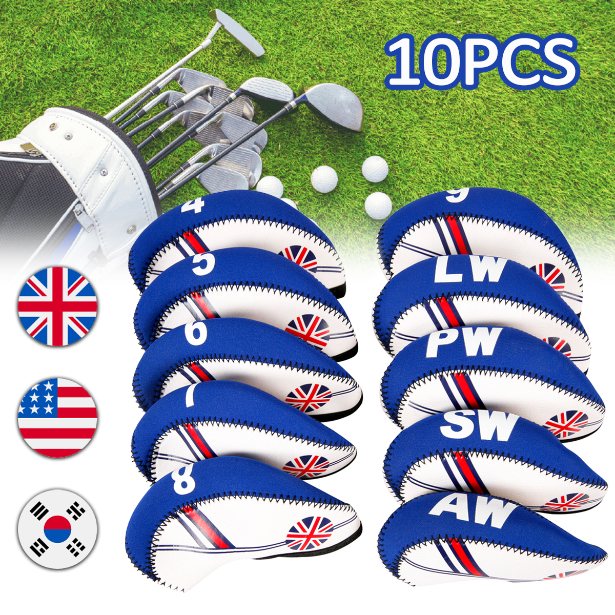 10Pcs/set Golf Club Iron Head Cover Neoprene National Flag Headc