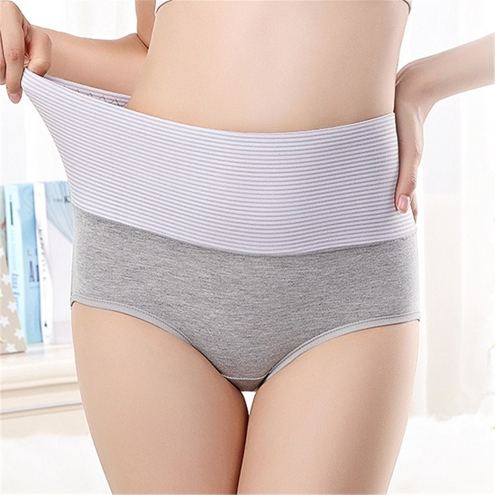 Candy Color Stripe High Waist Seamless Cotton Underwear Briefs