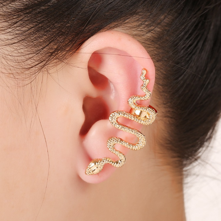 1Pc Exaggerate Snake Left Right Ear Cuff Zinc Alloy Silver Gold