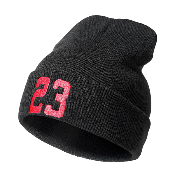 Women 23 Printing Autumn Warm Beanie Hat Knitted Hip Hop Hat