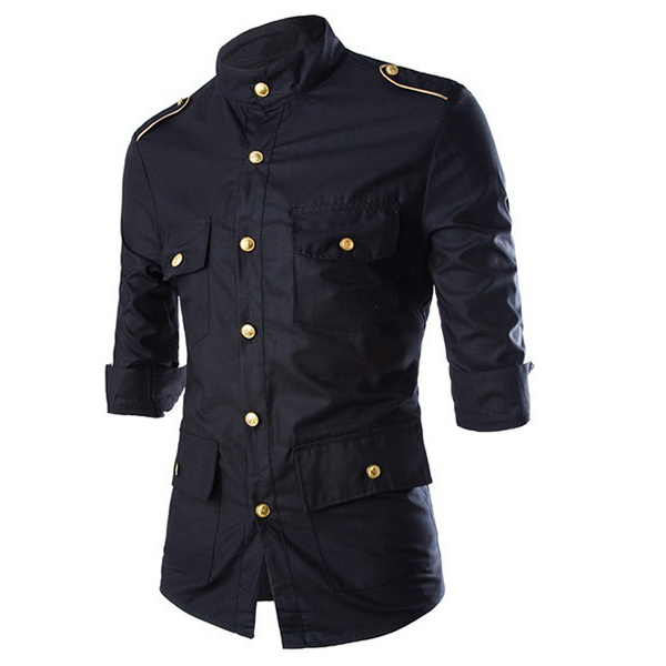Military Uniform Officer Style Fashion Slim Three Quarter Sleeve