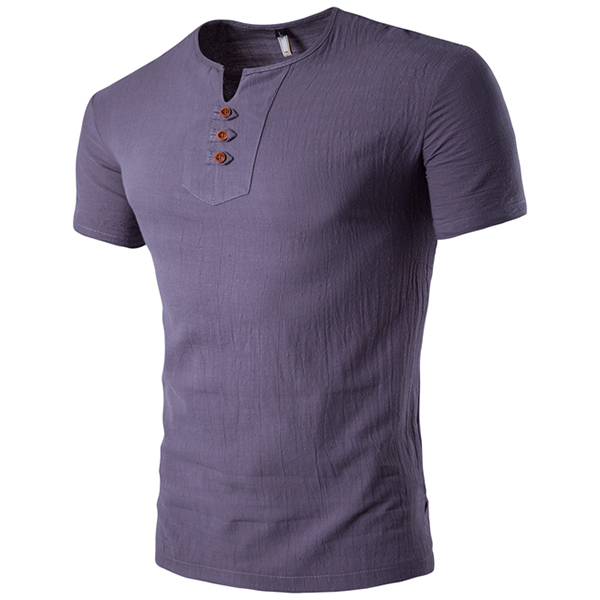 Summer Mens Casual V-neck Button Cotton Linen T-shirt Short Slee