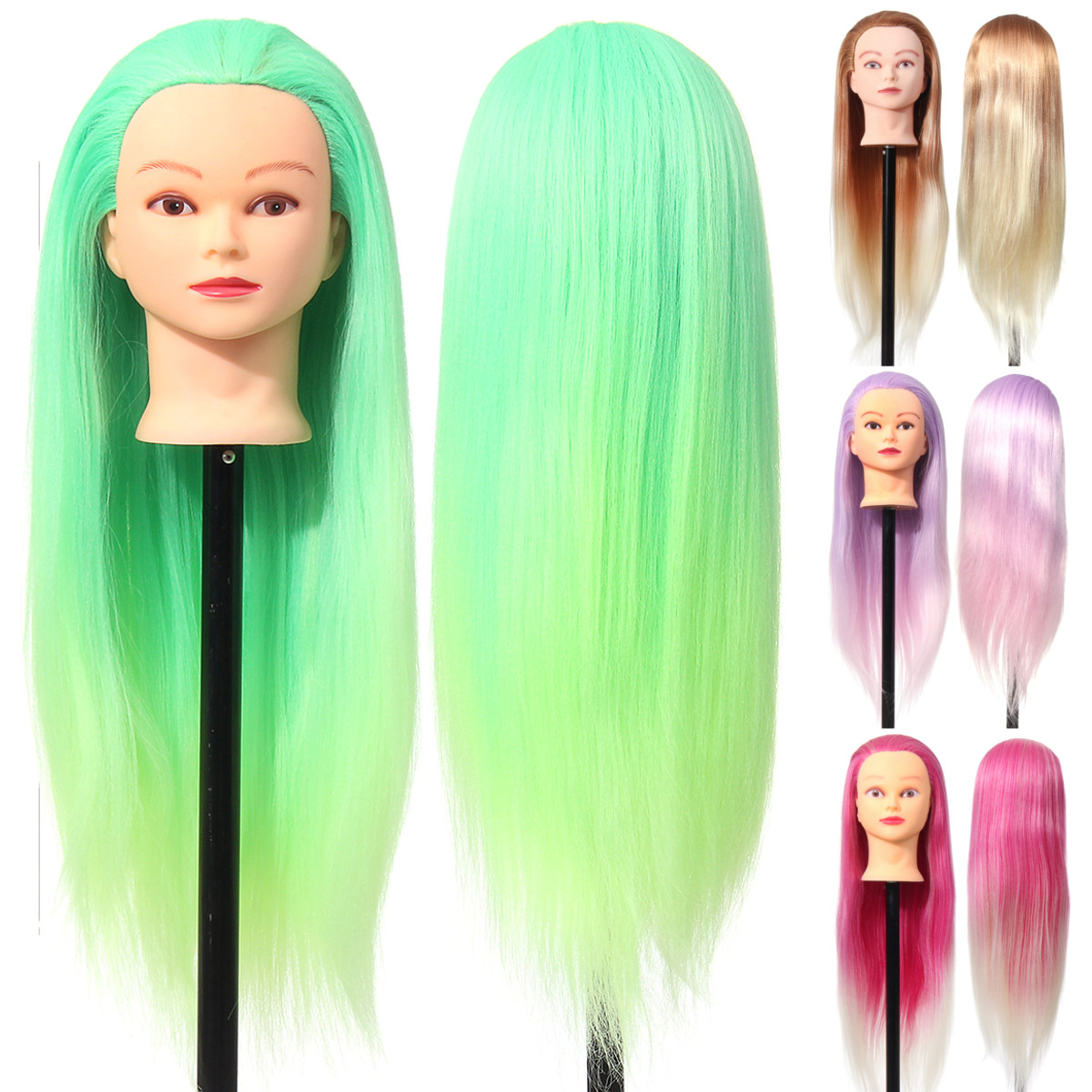 27'' Colorful Mannequin Head Hair Hairdressing Practice Training