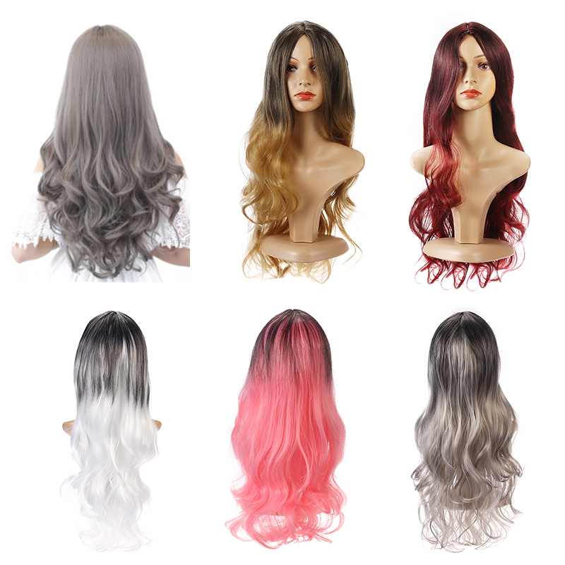26'' Women Ombre Black Red Full Wig Ladies Long Curly Wavy Wig H