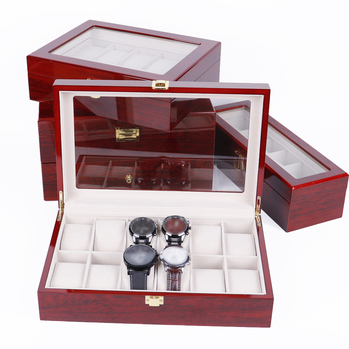 2/3/5/6/10/12 Slots Wooden Watch Display Case Holder Collection