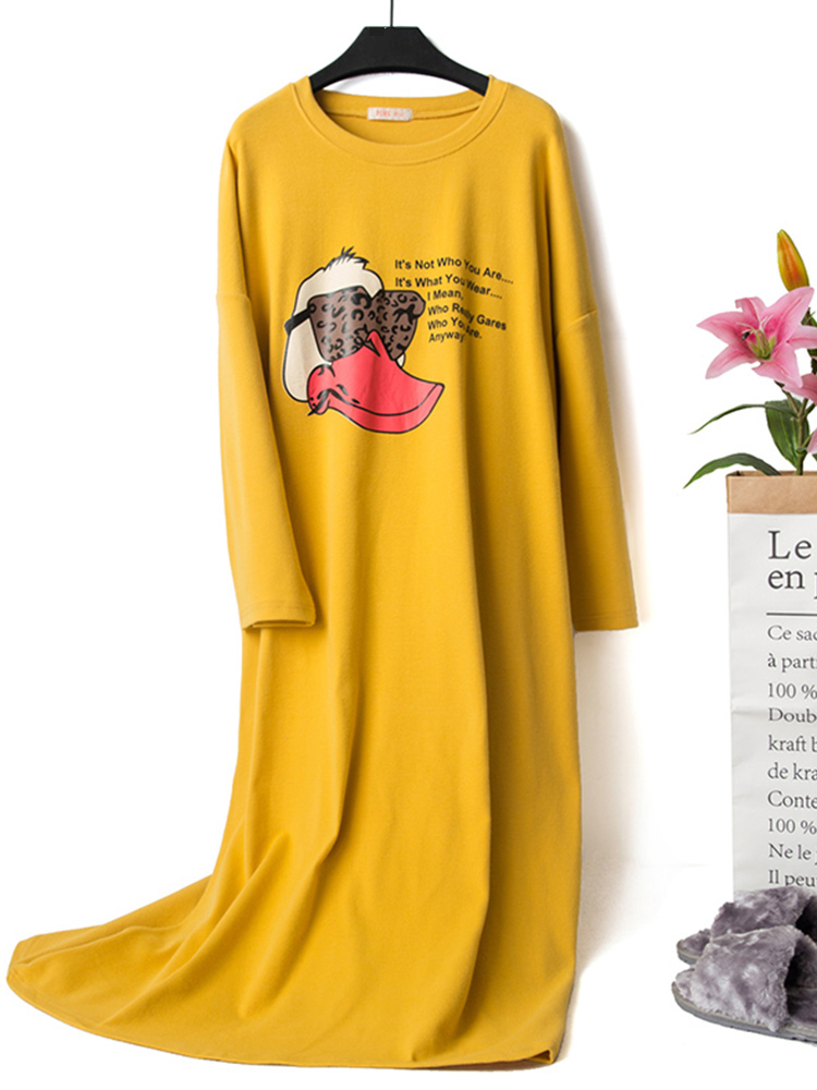 Autumn Cotton Long Sleeve Cartoon Printed Overhead Nightgown