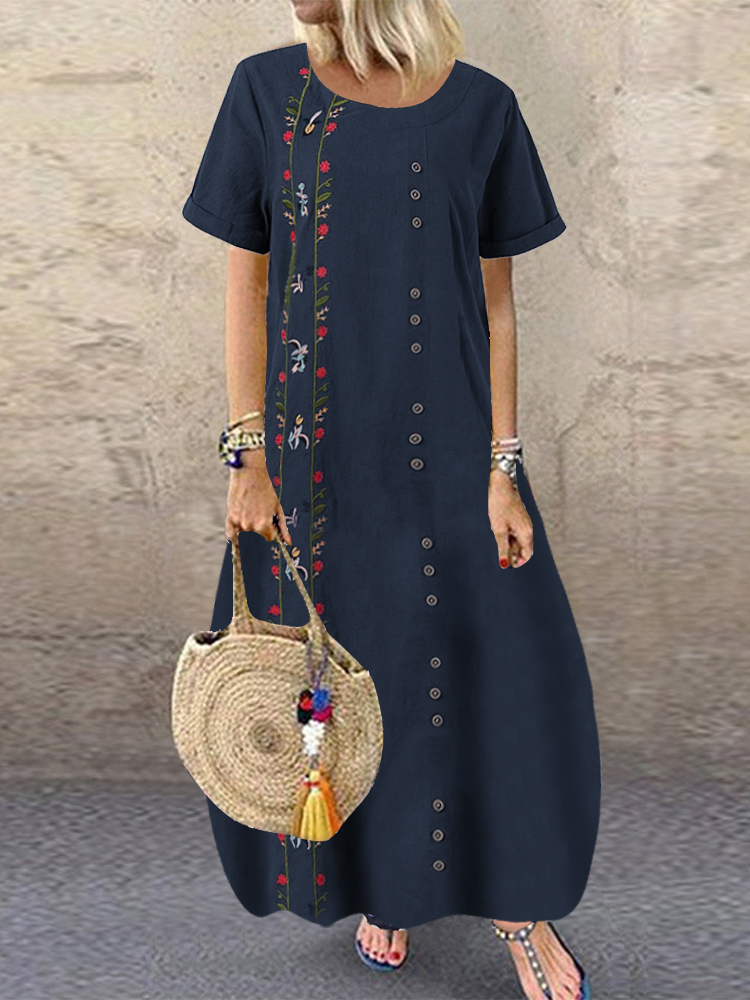 Bohemian Flowers Embroidery Short Sleeve Plus Size Maxi Dress