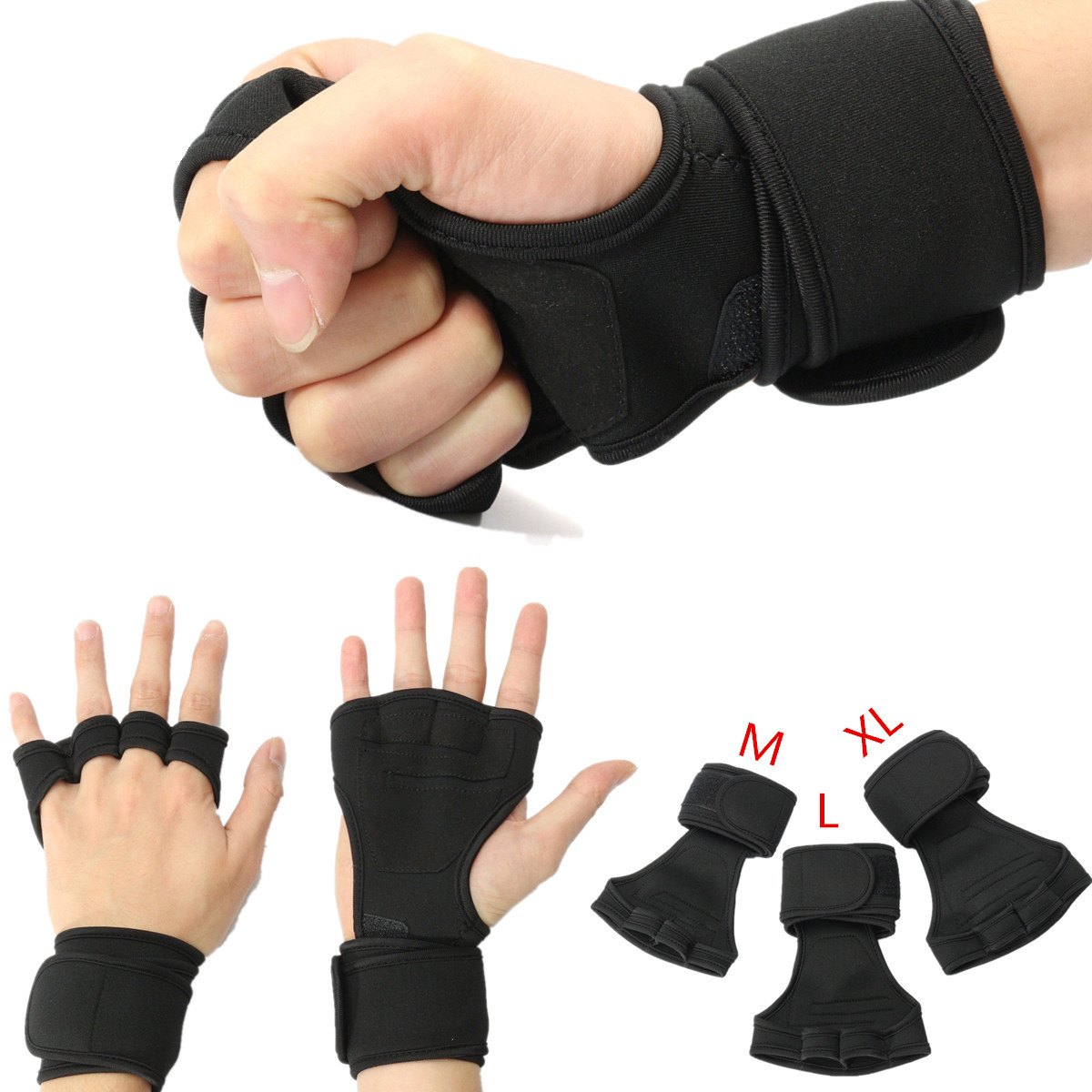 1 Pair Weightlifting Gloves Strength Training Fitness Gloves Wri