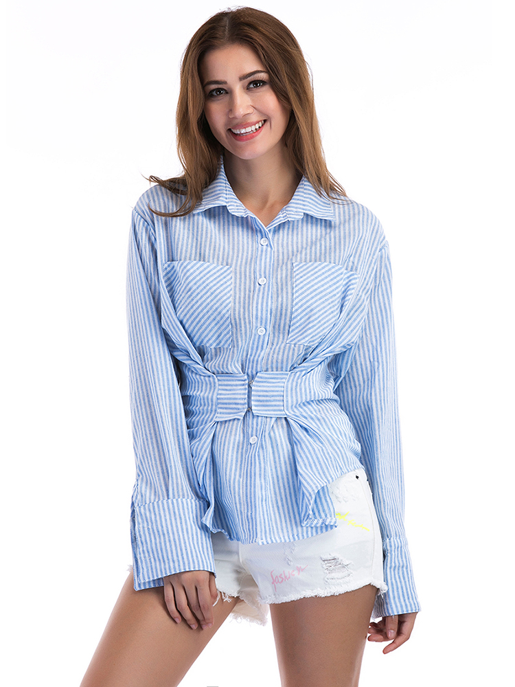 Blue Striped Women Casual Long Sleeve Lapel Blouse with Pockets