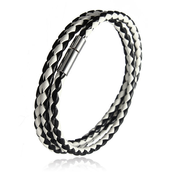 Handmade Braided Leather Stainless Steel Magnetic Buckle Bracele
