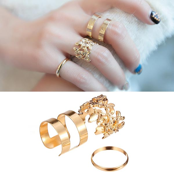 3pcs Hollow Out Leaves Band Midi Knuckle Finger Rings Set Gold P
