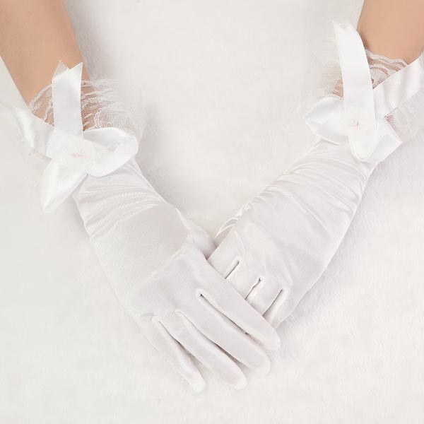 New Style Bridal Beige Bow Satin Short Wedding Dress Gloves