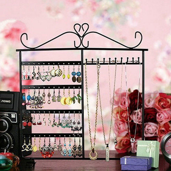 10 Hooks 48 Holes Earrings Necklace Jewelry Display Rack Holder