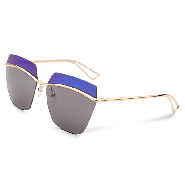 2015 UV400 Women Sunglasses Rimless Golden Frame Metal Mercury S