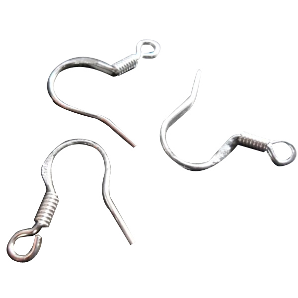 Silver Plated Unisex Fish Dangle Metal Earring Hooks Coil DIY Fi