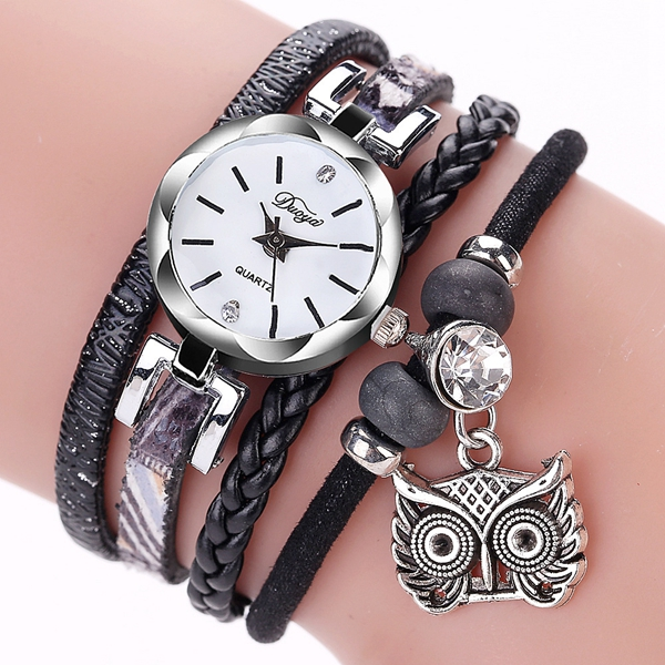 DUOYA Cute Style Owl Pendant Ladies Bracelet Watch Fashion Women