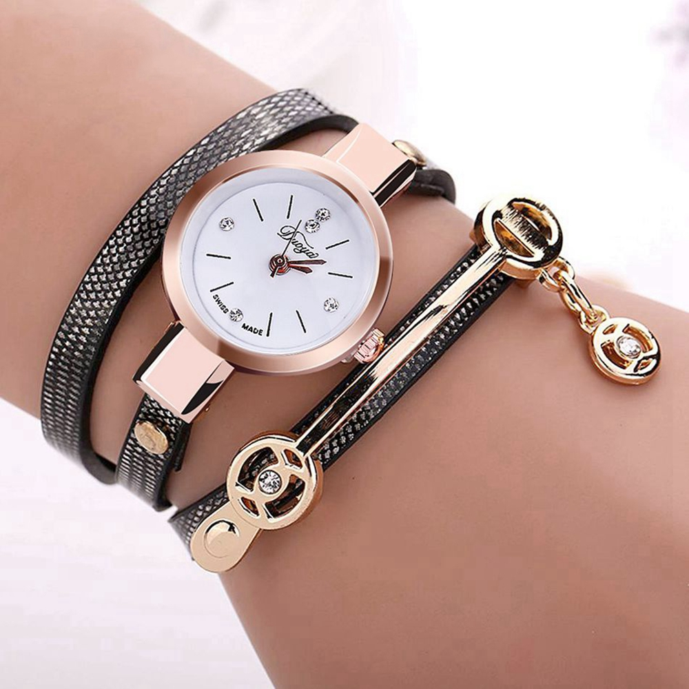 DUOYA XR1297 Fashion Casual Ladies Diamand PU Leather Strap Wome