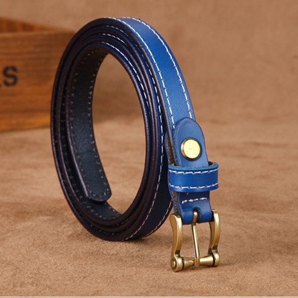 105CM Women Second Layer Leather Belt Leisure Pin Buckle Solid S