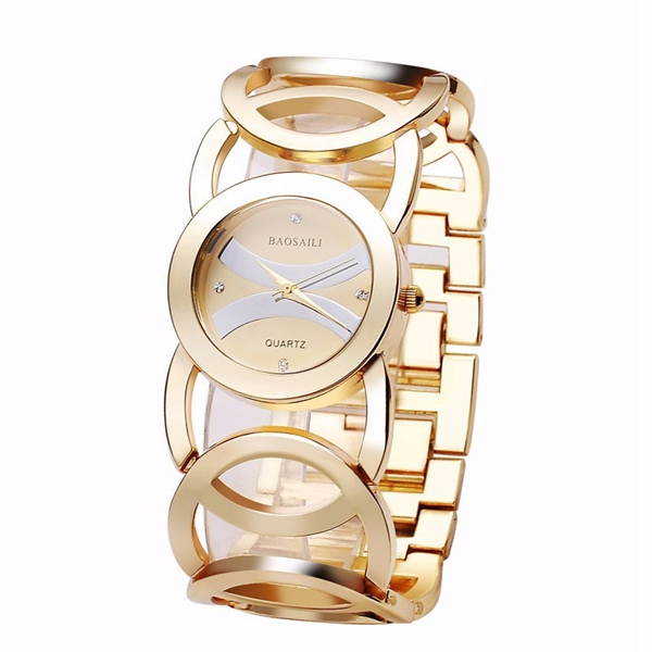 BAOSAILI BSL089 Fashion Luxury Crystal Gold Color Dress Wristwat