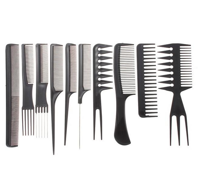 10Pcs/1Set Professional Comb Set Black Plastic Barbers Styling T