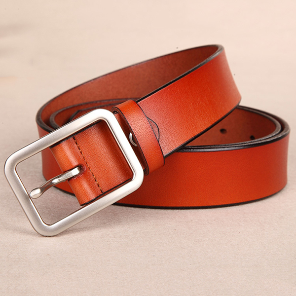 110CM Women Second Layer Leather Belt Pin Buckle Trousers Strap