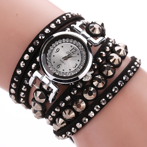 DUOYA Fashion Ladies Folk Custom Style Bracelet Watch Rhinestone