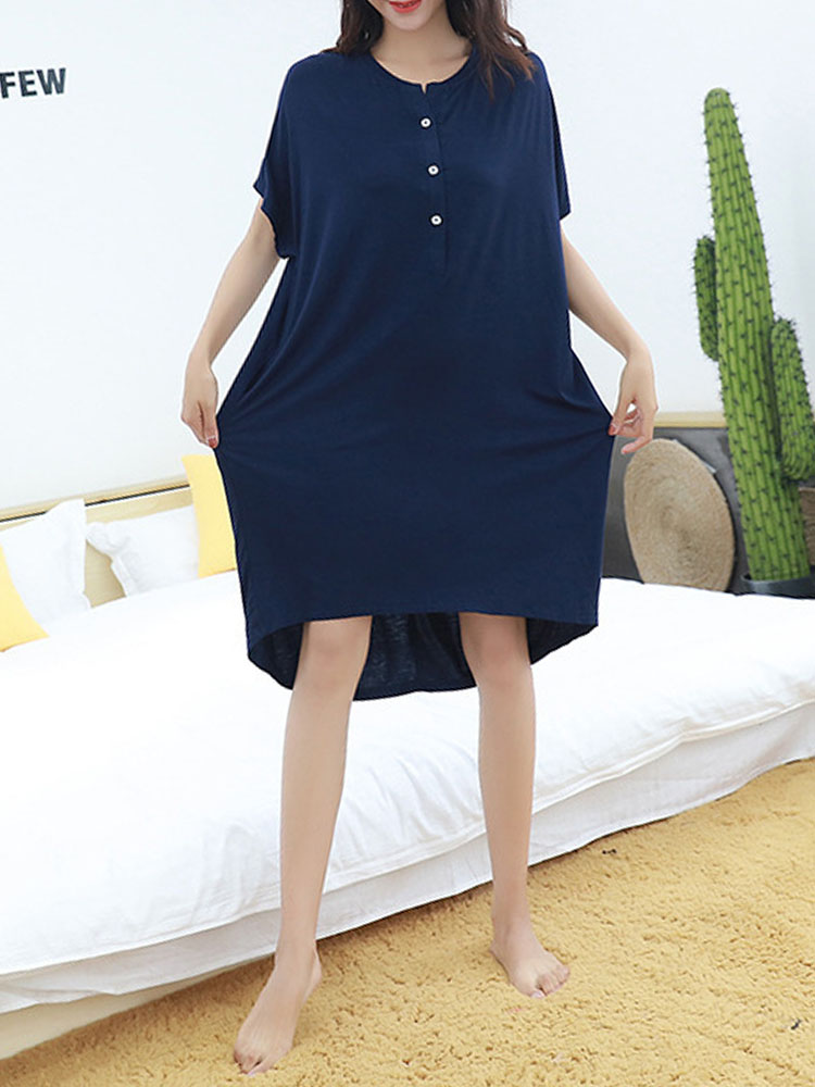 Women Casual Cotton Loose Large Size Dress Long-sleeved Solid Co