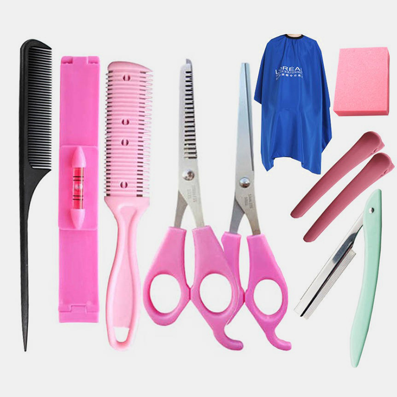 10Pcs Professional Haircut Tool Set Hairdressing Scissors Tooth