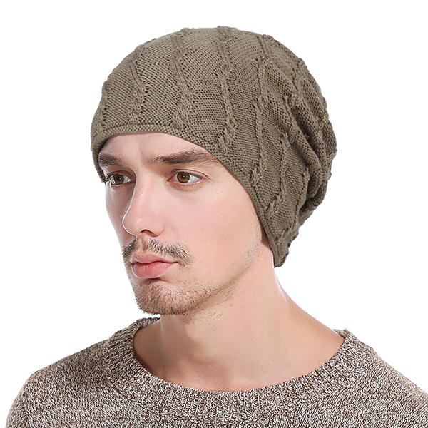 Mens Winter Warm Cotton Knitted Beanie Causal Thickening Windpro